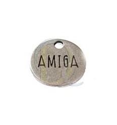 Colgante placa AMIGA. En zamak con baño de plata