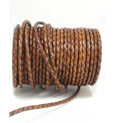 Antique brown leather braided
